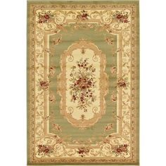 Traditional Versailles Green 6 ft. x 9 ft. Area Rug