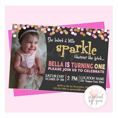 She leaves a little sparkle invitation, pink and gold invitation, birthday invitation with picture, Girl Birthday, Digital File Pink And Gold Invitations, Personalized Invitations, High Quality Images, Birthday Invitations, Your Child, Girl Birthday, You And I, Rsvp, No Response