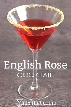 The English Rose drink recipe is gorgeous as well as tasty. This bright red cocktail contrasts the sweetness of apricot brandy and grenadine with gin, dry vermouth and lemon. And you can put a sugar rim on it. Red Cocktails, Classic Cocktails, Craft Cocktails, Cocktail Drinks, Fun Drinks, Cocktail Recipes, Alcoholic Drinks, Beverages, Liquor Drinks