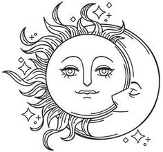 New embroidery designs sketch transfer paper 48 Ideas Moon Coloring Pages, Coloring Pages To Print, Adult Coloring Pages, Coloring Books, Colouring, New Embroidery Designs, Embroidery Patterns Free, Vintage Embroidery, Machine Embroidery