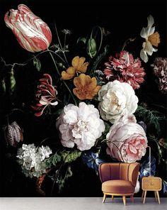 Dark Floral Stick Wallpaper Flowers Wall cloth Wall Mural | Etsy Mural Floral, Floral Wall, Of Wallpaper, Peel And Stick Wallpaper, Adhesive Wallpaper, Painting Wallpaper, Foto 3d, Art Mur, Wall Murals
