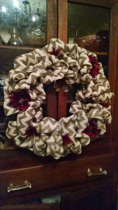 I make burlap and deco mesh wreaths too --$30