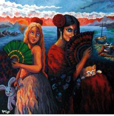 # 363 Madre e hija, se llevaran el mar y la arena...,   Autor: RomSabi, acrilico sobre tabla madera, 60x60cm