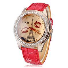 Mujeres Diamante Lip Print and Tower PU banda de cuarzo reloj de pulsera analógico Dial Pattern (colores surtidos) – EUR € 5.51