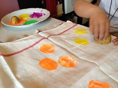 Easter Egg Potato Stamping. Kids craft. DIY.