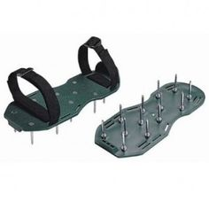 Take a stroll and aerate your lawn at the same time with these lawn aerator shoes. Each step presses a dozen 2in. metal spikes into hard-packed turf, allowing air,
