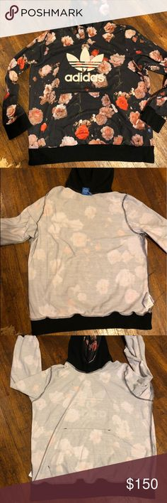PRICE FIRM • rare • floral adidas hoodie worn once • see pics adidas Sweaters