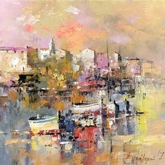 Branko Dimitrijevic, Sunset in Croatia, Oil on canvas, 25x25cm, £290