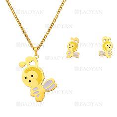 juego collar y aretes de abeja lindo en acero dorado inoxidable - SSNEG503996