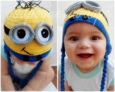 Minions(from Despicable Me) crochet kid's cap Minion Beanie, Minion Hats, My Minion, Minion Costumes, Minion Crochet, Crochet Baby, Free Crochet, Exotic Baby Names, Cute Kids
