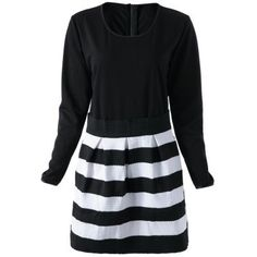 Fashionable Scoop Neck Striped Long Sleeve Dress