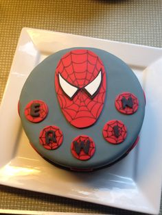 A spiderman birthday cake for a five year old friend of my son