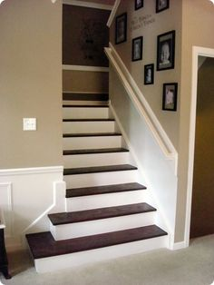 tear up the carpet, paint the risers and stain the steps diy-ideas