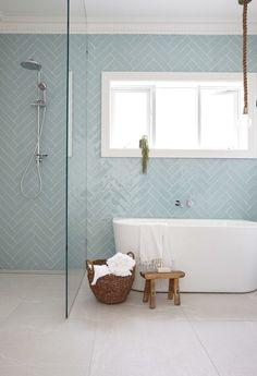 Herringbone tile pattern in light blue on modern bathroom wall. Family Bathroom, Laundry In Bathroom, Bathroom Renos, Bathroom Renovations, Bathroom Tiling, Master Bathroom, Best Tiles For Bathroom, Windows In Bathroom, Bathroom For Kids