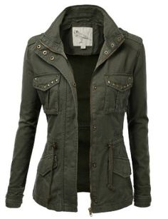 Trendy Military Cotton Drawstring Jacket Studded Military Jacket for Women. SO CUTE! I'd pair it with brown or khaki pants and a white top.Studded Military Jacket for Women. SO CUTE! I'd pair it with brown or khaki pants and a white top. Military Jacket Women, Military Style Jackets, Military Fashion, Women's Fall Jackets, Army Green Jackets, Military Inspired Fashion, Military Clothing, Casual Jackets, Cute Jackets