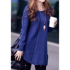 $10.89 Irregular Long Sleeves Round Neck Acrylic Refreshing Style Solid Color Sweater For Women