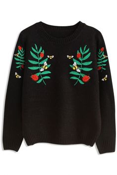 Demure Graphic Embroidered Pattern Sweater - OASAP.com Free Shipping+$15 Off Coupon!