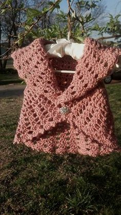 """Summer Vest for 1-2 year old little girl. Measurements from back side (arm-arm) 6 1/2"""", length of back from neck to bottom is 11"""". armholes are wide enough for any age. edging is a picot stitch all around. has a beautiful bling button attached. can be made in any color. the one that is ready for sale is an ANTIQUE ROSE. $20.00"""