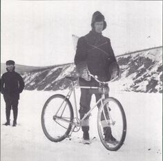 """""""The wheelman who set the """"overland bicycle record"""" from Whitehorse to Dawson City in the winter of 1903. He pedaled about 400 miles on the ice of the Yukon River in five days."""""""