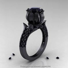 Black Diamond Solitaire Ring | I Want It Black