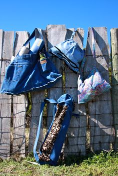 Purses and yoga matt bags made from recycled clothing…Upcycled by Calder Creations (photo credit to Ashlee Newman Photography)
