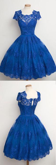 Graduation Dresses,Short Prom Dresses,Cheap Homecoming Dresses,Dresses for Girls.Luxurious Royal Blue Homecoming Dress,Scalloped-Edge Ball Knee-Length Dress,SVD412