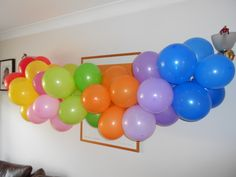 This was our attempt at a balloon rainbow.  We didn't use as many balloons as the pin on my Party Plans board but it worked all the same!