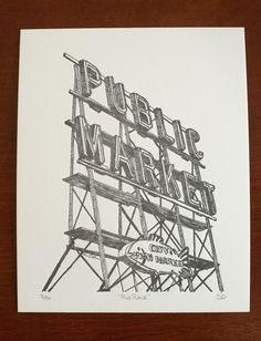 Pike Place II - Limited Edition Seattle Letterpress Print