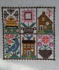 completed cross stitch Prairie Schooler Spring sampler