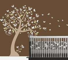 Nursery Blossom Butterfly Tree Wall Decal, Tree with Butterflies and Leaves for a Baby Nursery, Kids or Childrens Room