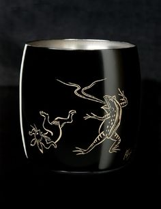 Titanium Japanese Lacquer Cup by Rhus  (Animal Caricatures) featured on Jzool.com