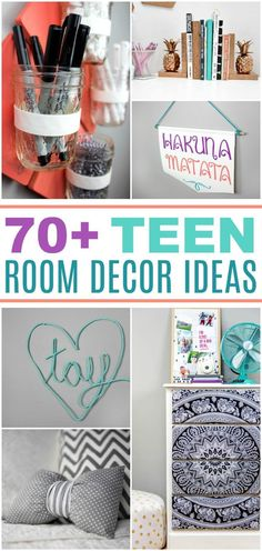 I have rounded up over 70 DIY Room Decor Ideas for Teens today and organized them by category so that it is super easy for you to find what you are looking for. A lot of them are tutorials for teen room decor ideas that I have had over the past few years Diy Crafts For Teens, Easy Diy Crafts, Diy For Girls, Teen Room Crafts, Decor Crafts, Teen Diy, Easy Diy Room Decor, Decor Room, Room Decorations