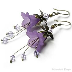 Romantic Lilac Floral Fantasy Swarovski Crystal Antique Brass Earrings, Long Dangle Violet Flower Earrings, Special Occasion, Gift for Women on Etsy, $24.00