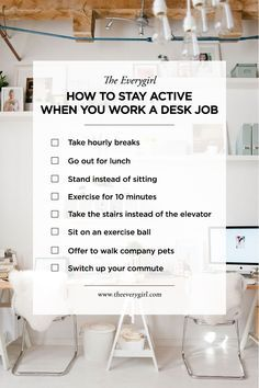 8 Ways to Stay Active If You Sit at Your Desk All Day – The Everygirl - Welness Workplace Wellness, Workplace Safety, Workplace Motivation, Check Email, Take The Stairs, Stay Active, Destress, Health Challenge, Work Life Balance