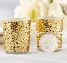 All That Glitters Gold Glitter Votive/Tealight Holders will surely make your reception tables sparkle and shine!  Give them to your guests as a favor or light them up and add to the ambiance!  Your guests will be impressed at their beauty.