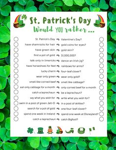 St Patricks Day Crafts For Kids, St Patricks Day Food, St Patrick's Day Crafts, Saint Patricks, St Patrick Day Treats, St Patrick Day Activities, St Patrick's Day Games, Would You Rather Game, Fun Party Games