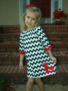 Black and white chevron print peasant dress with ruffle sleeves Applique initial. $32.00, via Etsy.