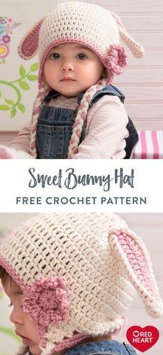 Sweet Bunny Hat free crochet pattern in Red Heart Soft. Your huggable cutie deserves a few extra … in 2020 Crochet Baby Hats Free Pattern, Crochet Baby Beanie, Baby Hat Patterns, Baby Girl Crochet, Crochet Baby Clothes, Crochet For Boys, Crochet Bunny, Free Crochet, Crochet Patterns