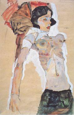"""""""La jeune femme déshabillée"""" Peinture de l'artiste autrichien Egon Schiele 1911"""