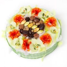 Chocofolie with chocolates (250g or 500g) Flowers and chocolates with 250g or 500g of dark chocolate and / or milk (diameter 30 cm - Flowers Premium cloth) - Chocolate French pure cocoa butter.