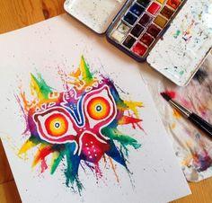 Majora's Mask art created by Lisa-Marie Melin. via: http://instagram.com/littlegeekyfanart