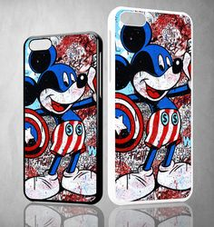 mickey captain america Y1393 iPhone 4S 5S 5C 6 6Plus, iPod 4 5, LG G2 G3 Nexus 4 5, Sony Z2 Case