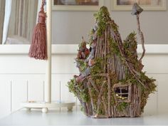 Fairy house Rustic wooden candle holder house by TurquoiseBun