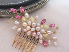 Blush pearl comb Gold pearl comb freshwater pearl comb by ZTetyana