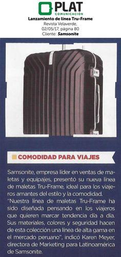 Samsonite: Lanzamiento de línea Tru-Frame en la revista Velaverde de Perú (02/05/17)