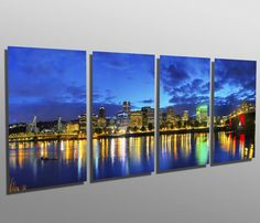 Metal Print - Portland, Oregon Cityscape - 4 Panel split Metal wall art printed on HD aluminum panels for home wall decor & interior design