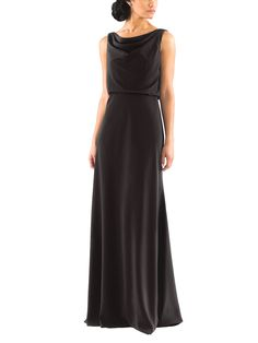 Jenny Yoo Madelyn is a floor length bridesmaid dress with a draped, cowl neckline and deep v back detail. The Jenny Yoo Madelyn is made of Crepe de Chine.
