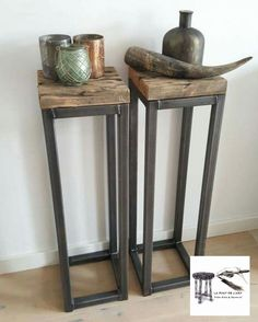 Welded Furniture, Steel Furniture, Modern Furniture, Furniture Design, Rustic Industrial, Modern Rustic, Metal End Tables, Side Tables, Wood Table