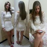 Cropped de croche no Elo7 | Silvana Rodrigues (B0D28F) Ideias Fashion, Dresses With Sleeves, Long Sleeve, Colors, Outfit, Dresses, Line, Full Sleeves, Gowns With Sleeves