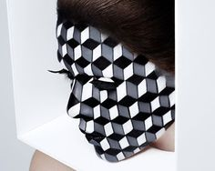 """INSPIRATION: """"CUBISM"""" Makeup illusion with graphic 3D geometric shapes. MUA: Andrew Gallimore PHOTO: Rankin"""